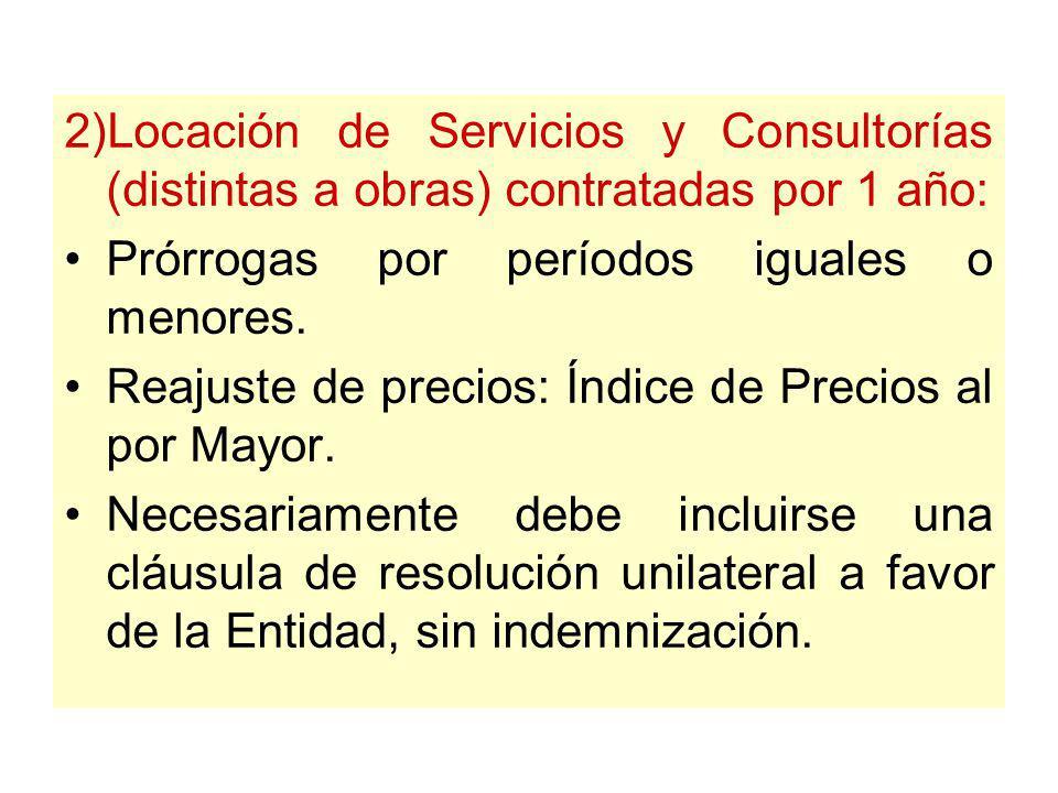 Prórrogas sucesivas 1) Arrendamiento: Condiciones iguales a las del contrato original. Necesariamente debe incluirse una cláusula de resolución unilat
