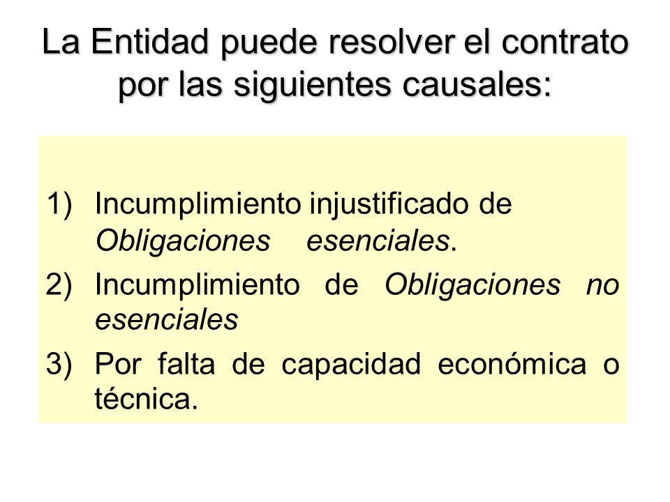 Resolución del Contrato La resolución puede ser total o parcial, previo emplazamiento Causales: –Mutuo acuerdo –Caso fortuito o fuerza mayor –Incumplimiento de alguna de las partes