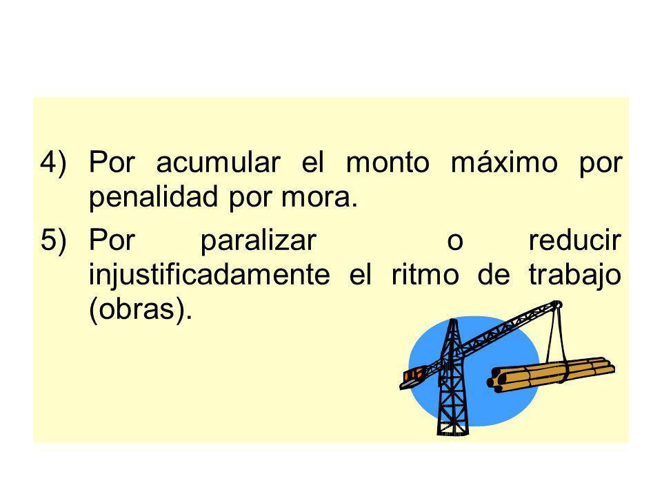 La Entidad puede resolver el contrato por las siguientes causales: 1)Incumplimiento injustificado de Obligaciones esenciales. 2)Incumplimiento de Obli