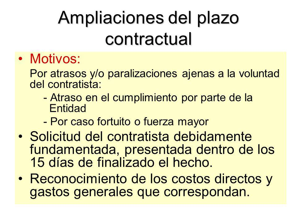 Adicionales y Reducciones Para alcanzar la finalidad del Contrato Aprobación: Entidad (En obras: Contraloría si es > 10%) Asignación Presupuestal. Pue