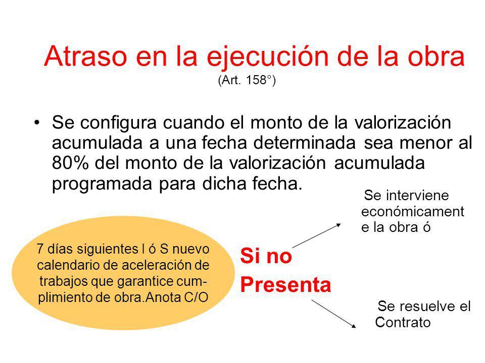 Valorizaciones y Metrados (Art. 153º) Elaboración Fechas y Plazos para su presentación Plazo para su pago Intereses