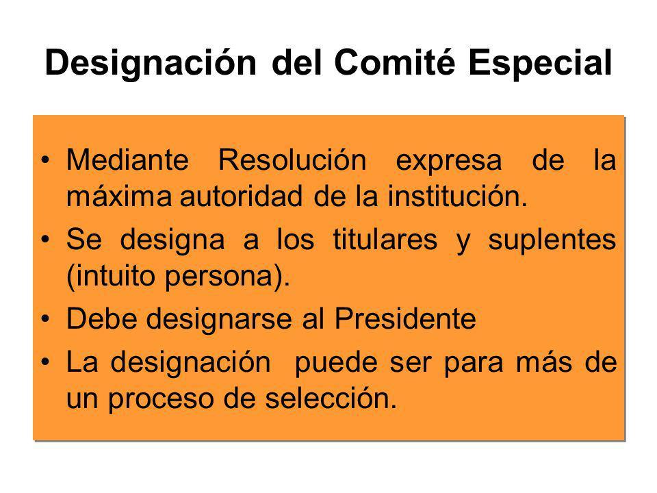 Funciones del Comité Especial Elabora las Bases Convoca al proceso Absuelve Consultas Absuelve Observaciones Recepciona Ofertas Califica Propuestas Ot