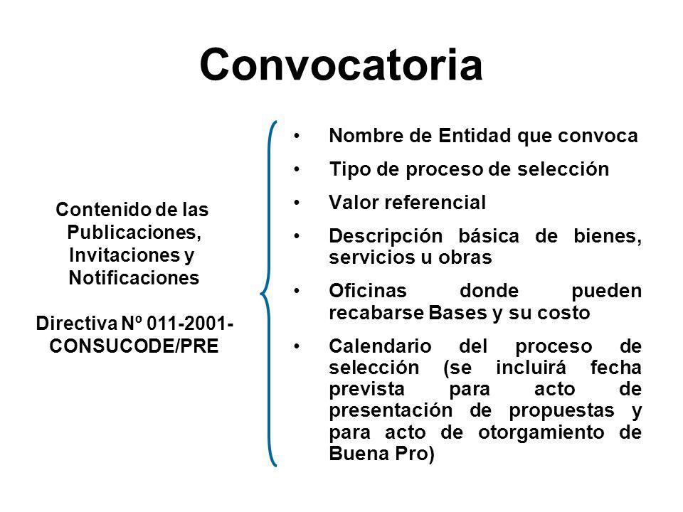 Licitación Pública o Concurso Público Adjudicación Directa Adjudicación de Menor Cuantía Pública Diario Oficial El Peruano Plazo : x > 10 días Selecti