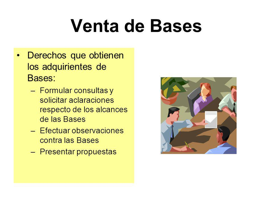 Venta de Bases Deben venderse a costo de reproducción En adjudicaciones de menor cuantía para bienes y servicios (distintos de consultoría de obras) d