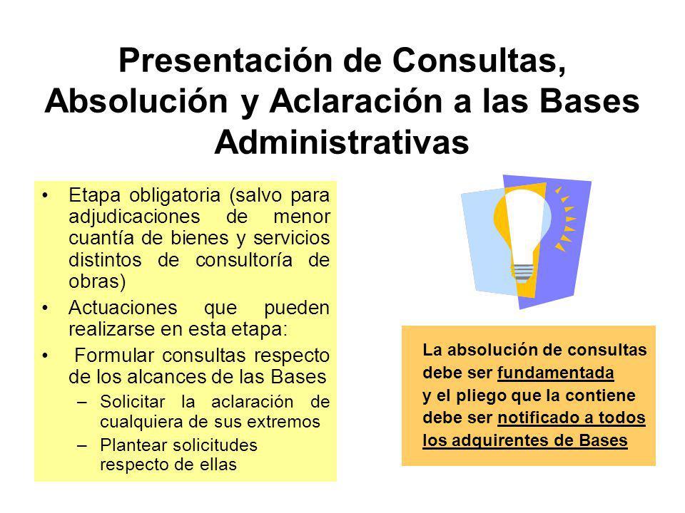 Venta de Bases Derechos que obtienen los adquirientes de Bases: –Formular consultas y solicitar aclaraciones respecto de los alcances de las Bases –Efectuar observaciones contra las Bases –Presentar propuestas