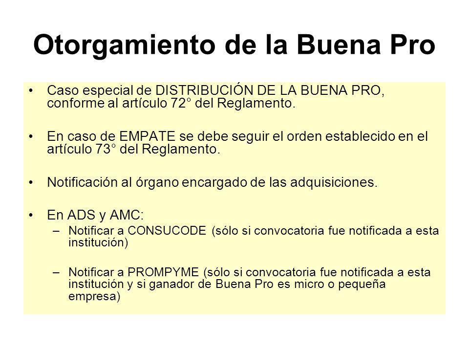 Otorgamiento de la Buena Pro Acto Público: Obligatorio en licitaciones públicas y concursos públicos.