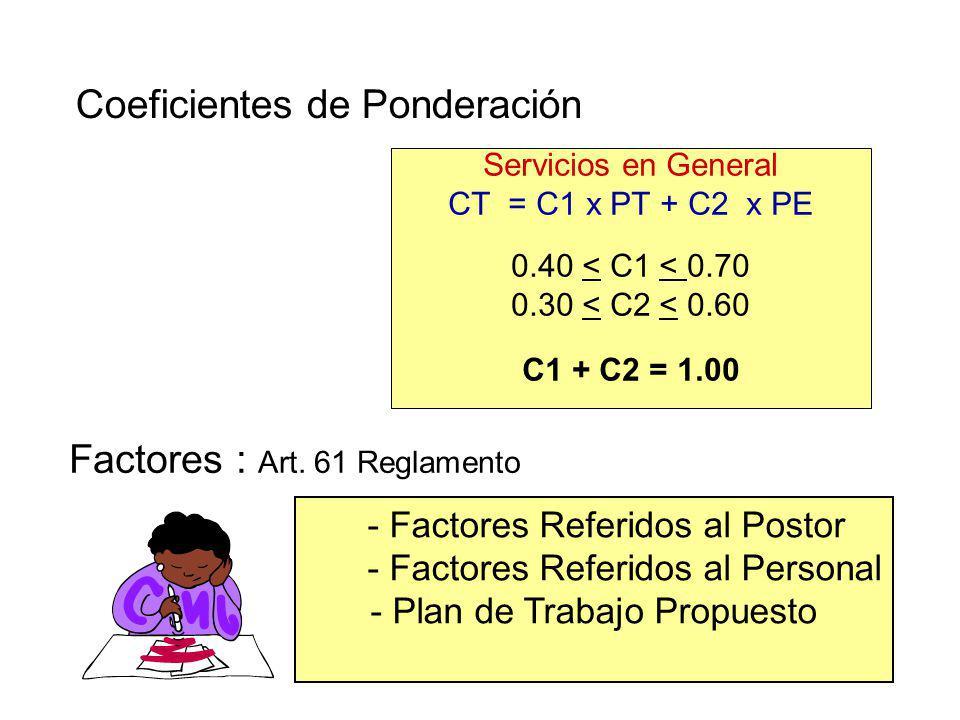 Factores de Evaluación Técnica SERVICIOS EN GENERAL