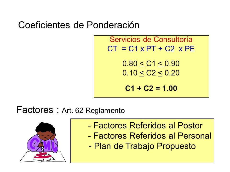 Factores de Evaluación Técnica SERVICIOS DE CONSULTORIA