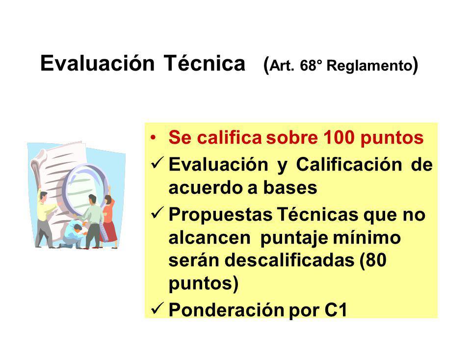 Coeficientes de Ponderación Servicios de Consultoría CT = C1 x PT + C2 x PE 0.80 < C1 < 0.90 0.10 < C2 < 0.20 C1 + C2 = 1.00 Factores : Art. 62 Reglam