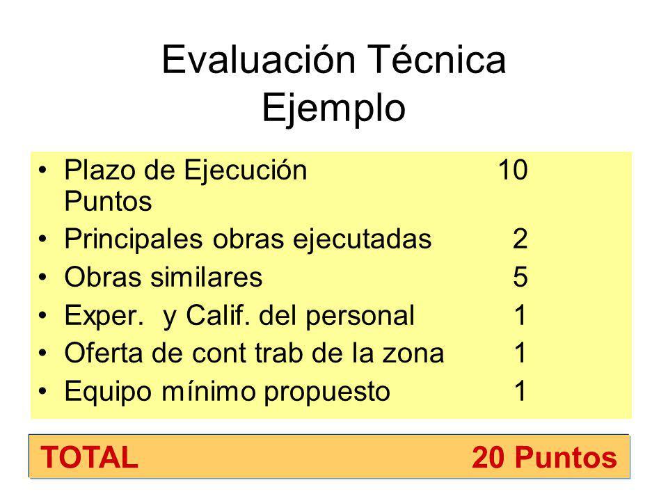 Obras Valor referencial igual o superior a 3000 UIT Evaluación Técnica:20 Puntos En la evaluación técnica al plazo se le asignará por lo menos 10 Puntos