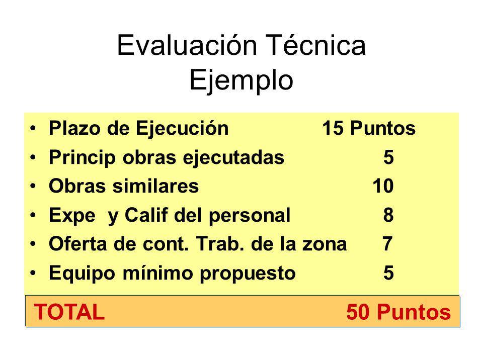 Cuando además se consideran factores (g) y (h) del numeral 1 del Art. 64 Evaluación Técnica50 Puntos En la evaluación Técnica por lo menos 10 puntos c