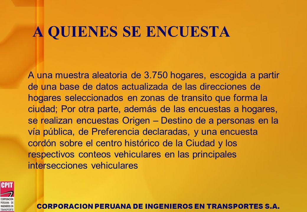 CORPORACION PERUANA DE INGENIEROS EN TRANSPORTES S.A. A QUIENES SE ENCUESTA A una muestra aleatoria de 3.750 hogares, escogida a partir de una base de