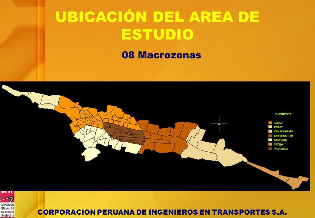 CORPORACION PERUANA DE INGENIEROS EN TRANSPORTES S.A. UBICACIÓN DEL AREA DE ESTUDIO 08 Macrozonas