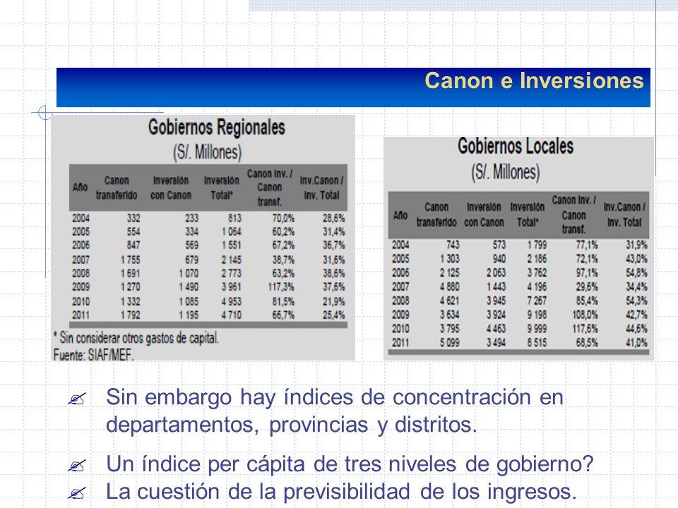 Canon e Inversiones ?Sin embargo hay índices de concentración en departamentos, provincias y distritos. ?Un índice per cápita de tres niveles de gobie