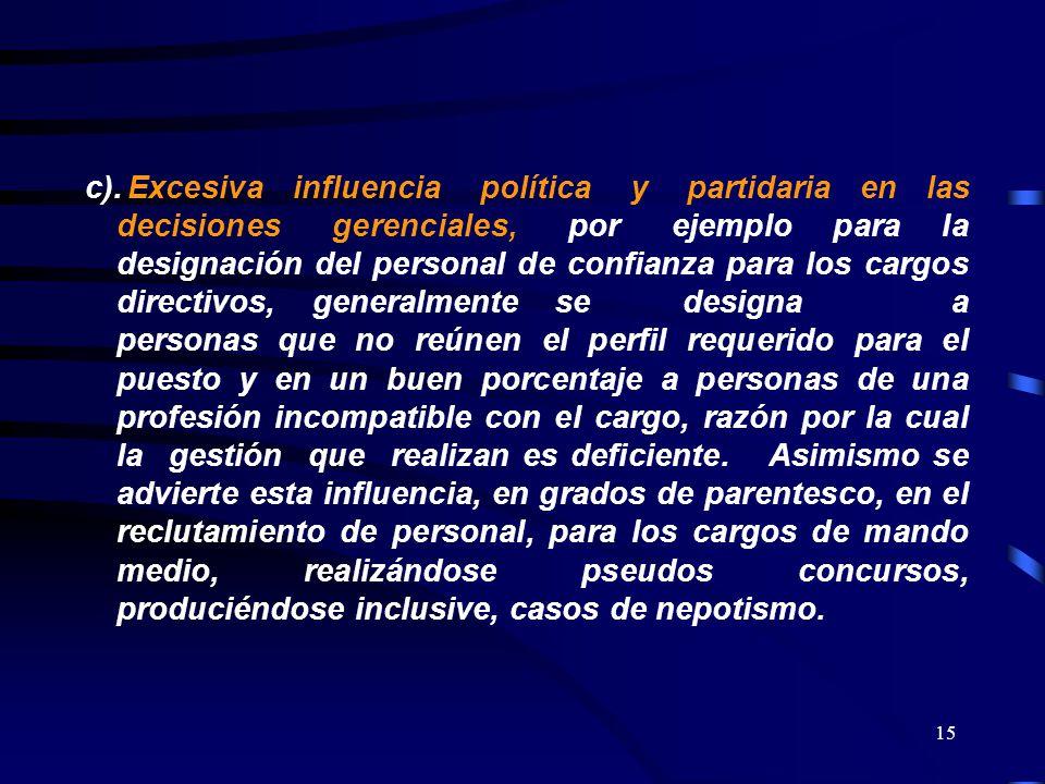 15 c).Excesiva influencia política y partidaria en las decisiones gerenciales, por ejemplo para la designación del personal de confianza para los carg
