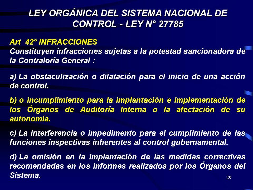 29 LEY ORGÁNICA DEL SISTEMA NACIONAL DE CONTROL - LEY N° 27785 Art 42° INFRACCIONES Constituyen infracciones sujetas a la potestad sancionadora de la
