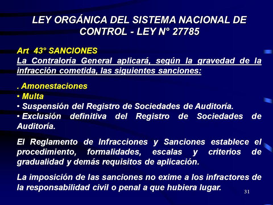 31 LEY ORGÁNICA DEL SISTEMA NACIONAL DE CONTROL - LEY N° 27785 Art 43° SANCIONES La Contraloría General aplicará, según la gravedad de la infracción c