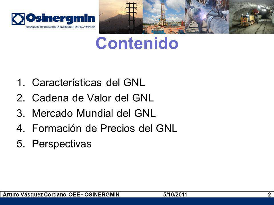 Contenido 1.Características del GNL 2.Cadena de Valor del GNL 3.Mercado Mundial del GNL 4.Formación de Precios del GNL 5.Perspectivas 5/10/20112Arturo