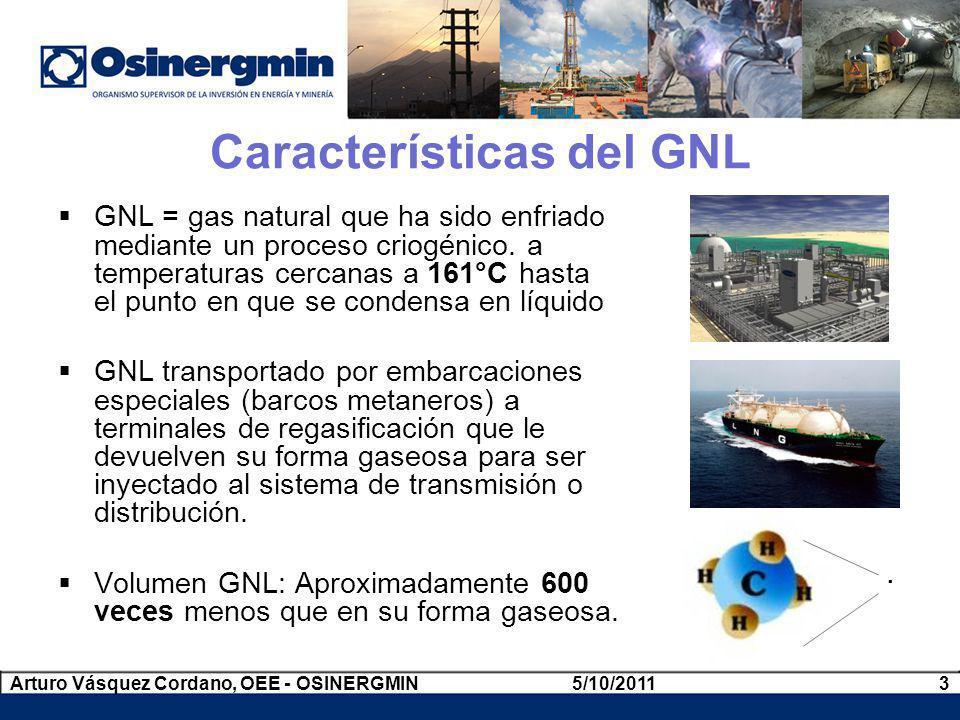 Cadena de Valor del GNL Reservas Producción Licuefacción Transporte Regasificación Transporte Marítimo Transporte Distribución Usuarios Finales Pampa Melchorita 5/10/20114Arturo Vásquez Cordano, OEE - OSINERGMIN