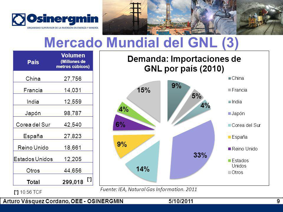 Fuente: IEA, Natural Gas Information. 2011 País Volumen (Millones de metros cúbicos) China27,756 Francia14,031 India12,559 Japón98,787 Corea del Sur42