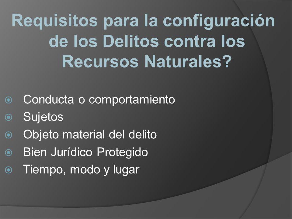Requisitos para la configuración de los Delitos contra los Recursos Naturales? Conducta o comportamiento Sujetos Objeto material del delito Bien Juríd