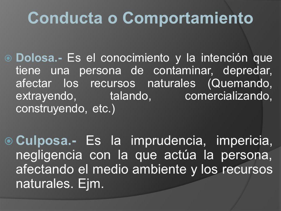 Conducta o Comportamiento Dolosa.- Es el conocimiento y la intención que tiene una persona de contaminar, depredar, afectar los recursos naturales (Qu