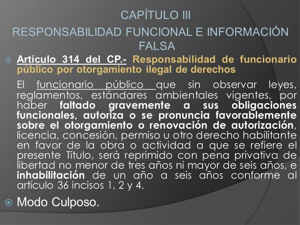 CAPÍTULO III RESPONSABILIDAD FUNCIONAL E INFORMACIÓN FALSA Artículo 314 del CP.- Responsabilidad de funcionario público por otorgamiento ilegal de der