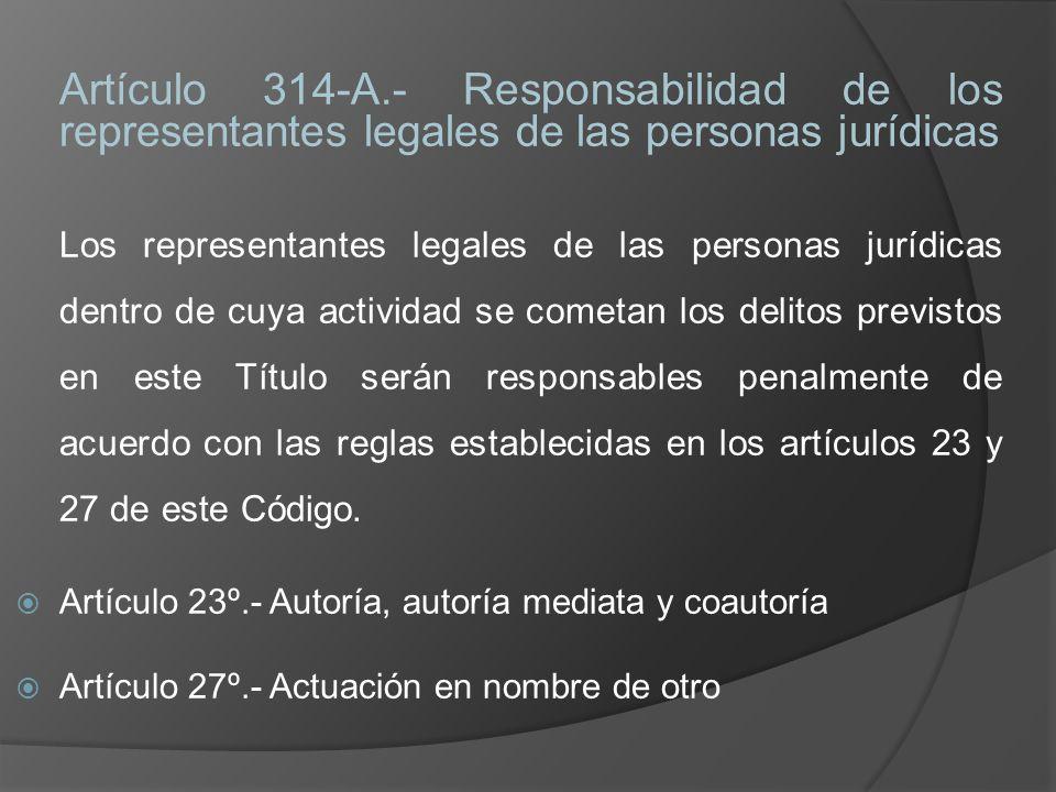 Artículo 314-A.- Responsabilidad de los representantes legales de las personas jurídicas Los representantes legales de las personas jurídicas dentro d