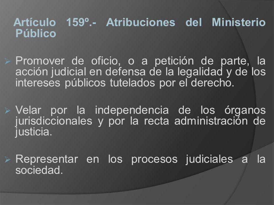 Artículo 159º.- Atribuciones del Ministerio Público Promover de oficio, o a petición de parte, la acción judicial en defensa de la legalidad y de los