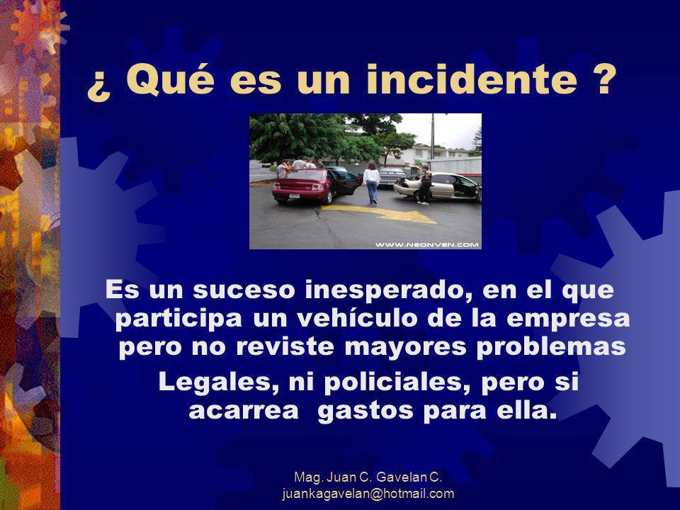 Mag. Juan C. Gavelan C. juankagavelan@hotmail.com ¿ Qué es un accidente de tránsito? Es un suceso inesperado ocurrido en una vía de circulación públic