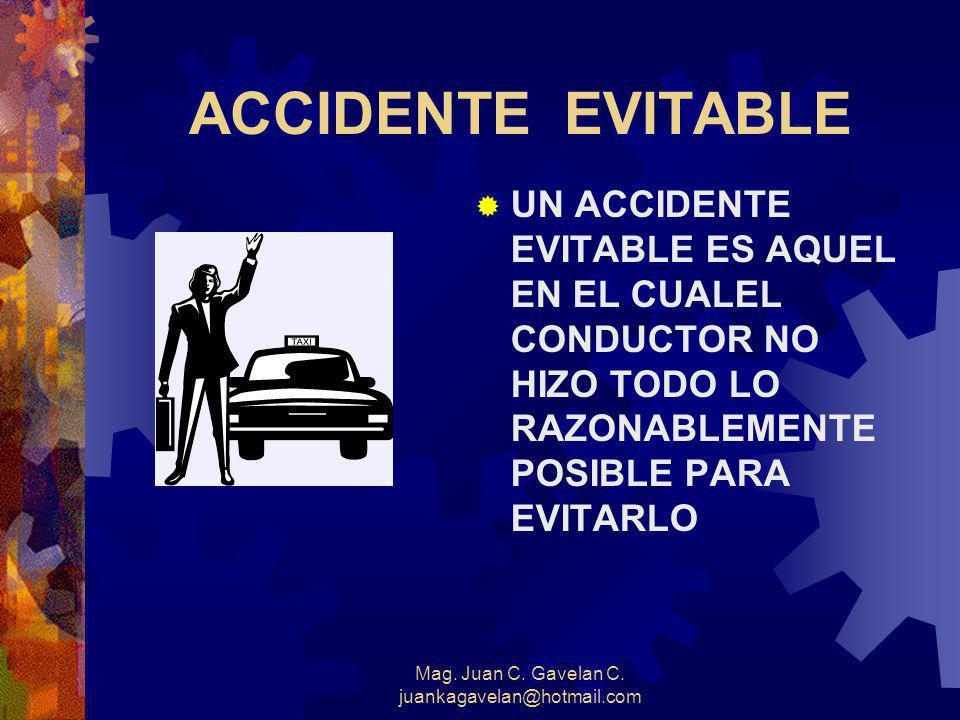 Mag. Juan C. Gavelan C. juankagavelan@hotmail.com ¿ Qué es un incidente ? Es un suceso inesperado, en el que participa un vehículo de la empresa pero