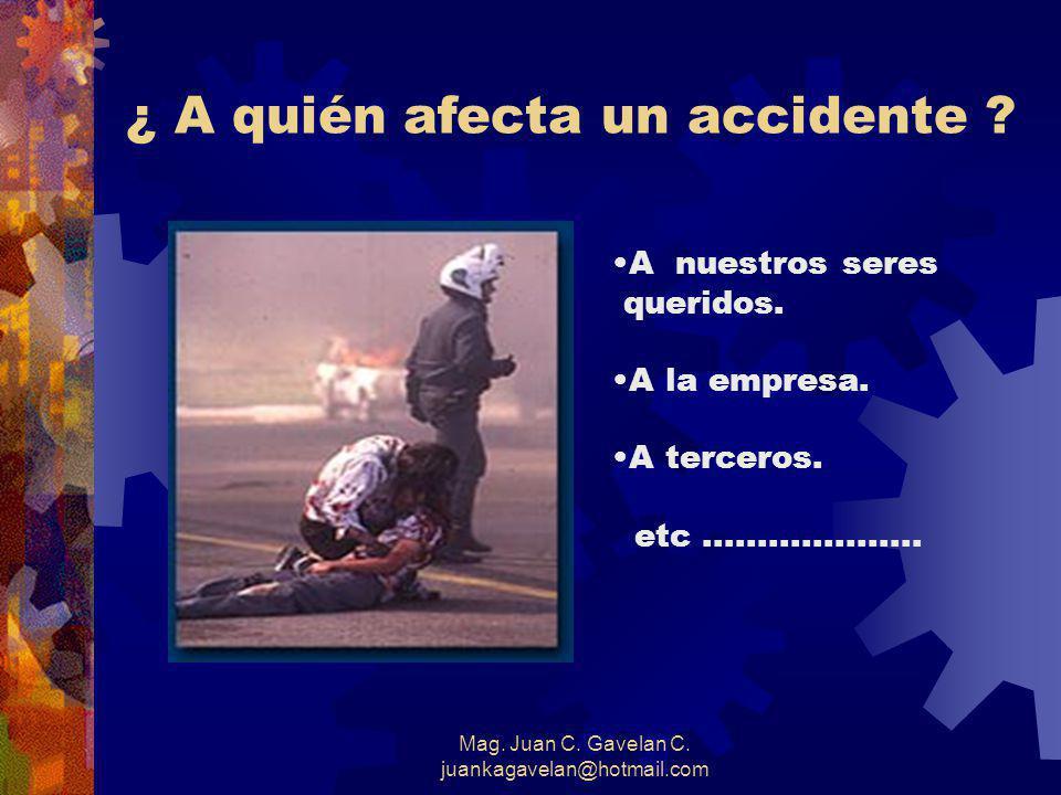 Mag. Juan C. Gavelan C. juankagavelan@hotmail.com ACCIDENTE EVITABLE UN ACCIDENTE EVITABLE ES AQUEL EN EL CUALEL CONDUCTOR NO HIZO TODO LO RAZONABLEME