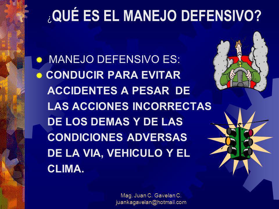 Mag. Juan C. Gavelan C. juankagavelan@hotmail.com Conducir a la Defensiva Involucra § Llegar a su destino sin infracciones, choques o poniendo en peli