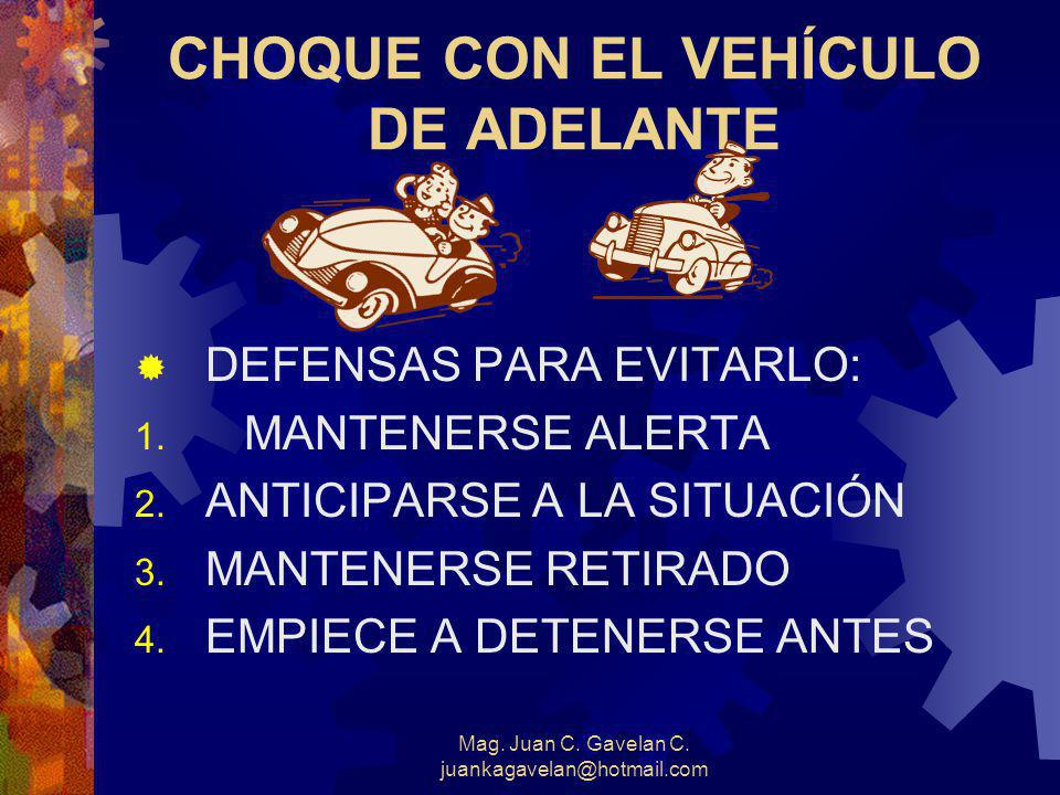Mag. Juan C. Gavelan C. juankagavelan@hotmail.com CLASES DE CHOQUES ENTRE DOS VEHÍCULOS 1. Con el vehículo de Adelante 2. Con el vehículo de Atrás 3.