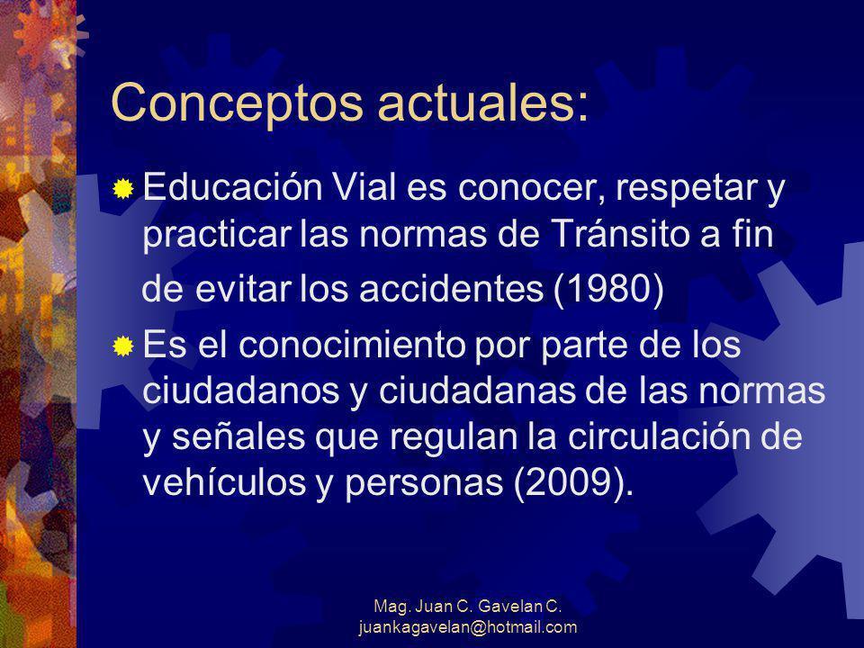 Mag. Juan C. Gavelan C. juankagavelan@hotmail.com Concepto Tradicional de la Educación Vial (1970) Es el Proceso por el cual la población toma concien