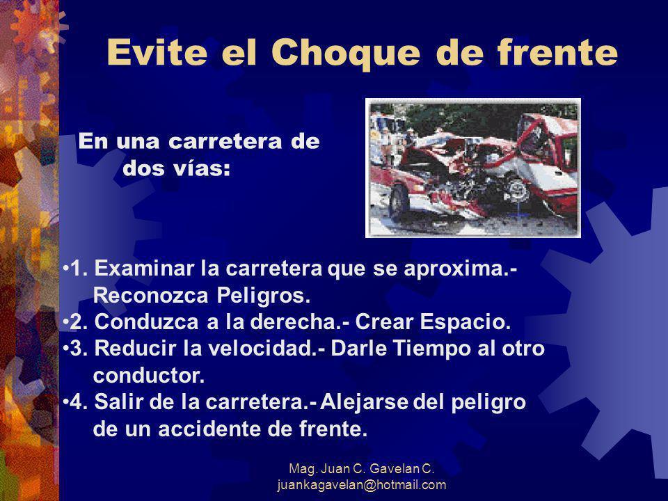 Mag. Juan C. Gavelan C. juankagavelan@hotmail.com CHOQUE CON EL VEHÍCULO QUE VIENE DE FRENTE DEFENSAS PARA EVITARLO 1. Conserve su Derecha 2. Observe