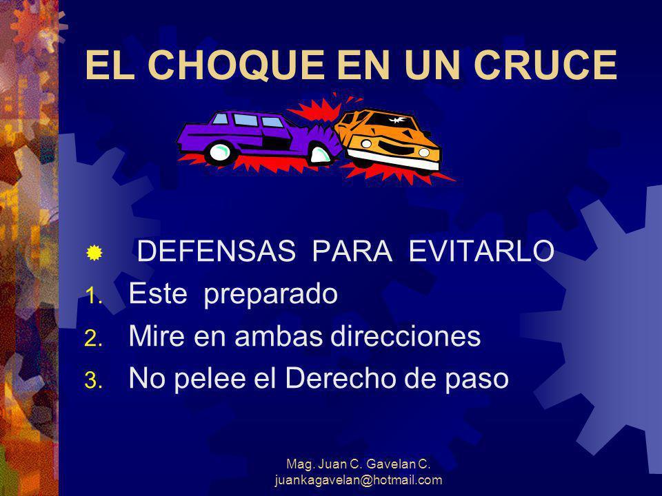 Mag. Juan C. Gavelan C. juankagavelan@hotmail.com El choque del vehículo. La importancia de los cinturones de seguridad El choque humano. El choque in