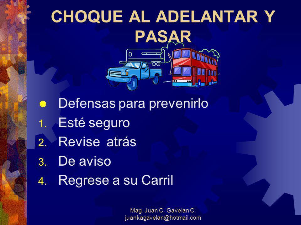 Mag. Juan C. Gavelan C. juankagavelan@hotmail.com EL CHOQUE AL SER PASADO DEFENSAS PARA PREVENIRLO 1. Preste Ayuda 2. Observe hacia atrás 3. Conserve