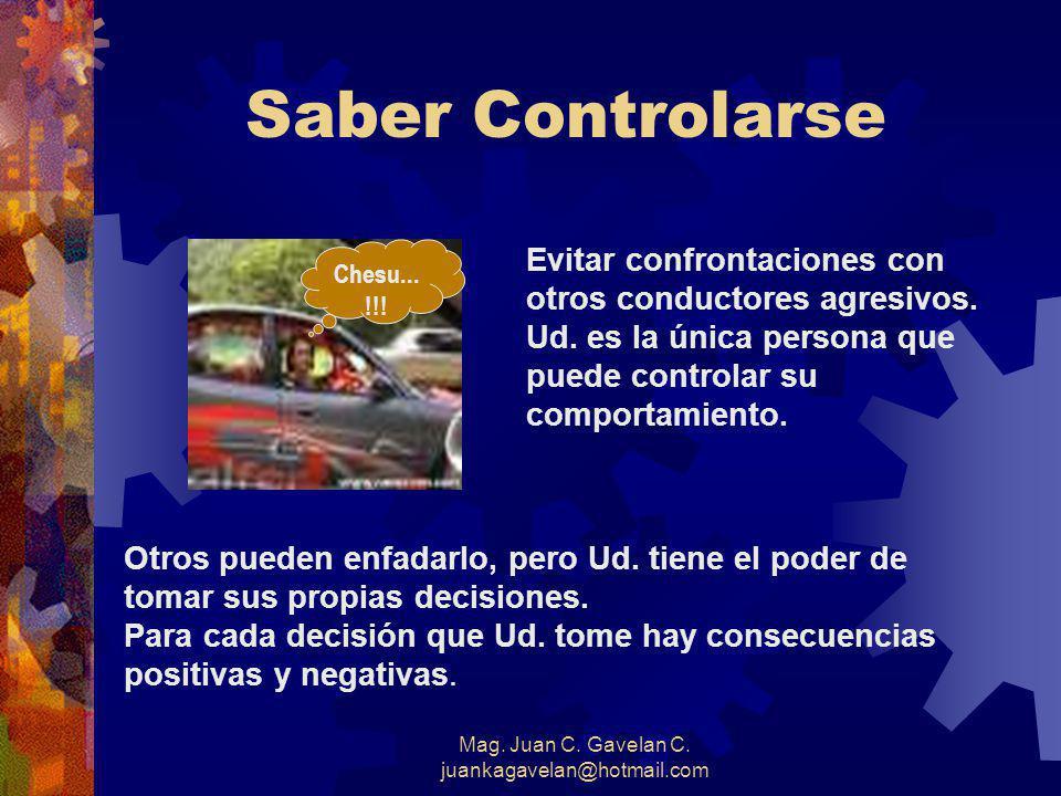 Mag. Juan C. Gavelan C. juankagavelan@hotmail.com Conducción Agresiva Es conducir de una manera egoísta o imprudente, sin tomar en cuenta los derechos