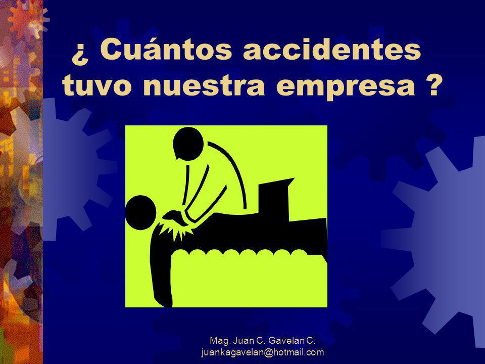 Mag. Juan C. Gavelan C. juankagavelan@hotmail.com ¿ Cuántos accidentes tuvo nuestra empresa ?