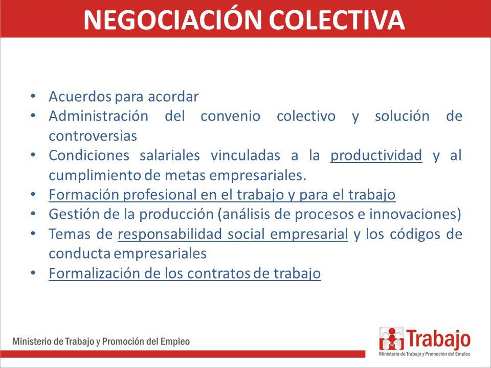 NEGOCIACIÓN COLECTIVA Acuerdos para acordar Administración del convenio colectivo y solución de controversias Condiciones salariales vinculadas a la p