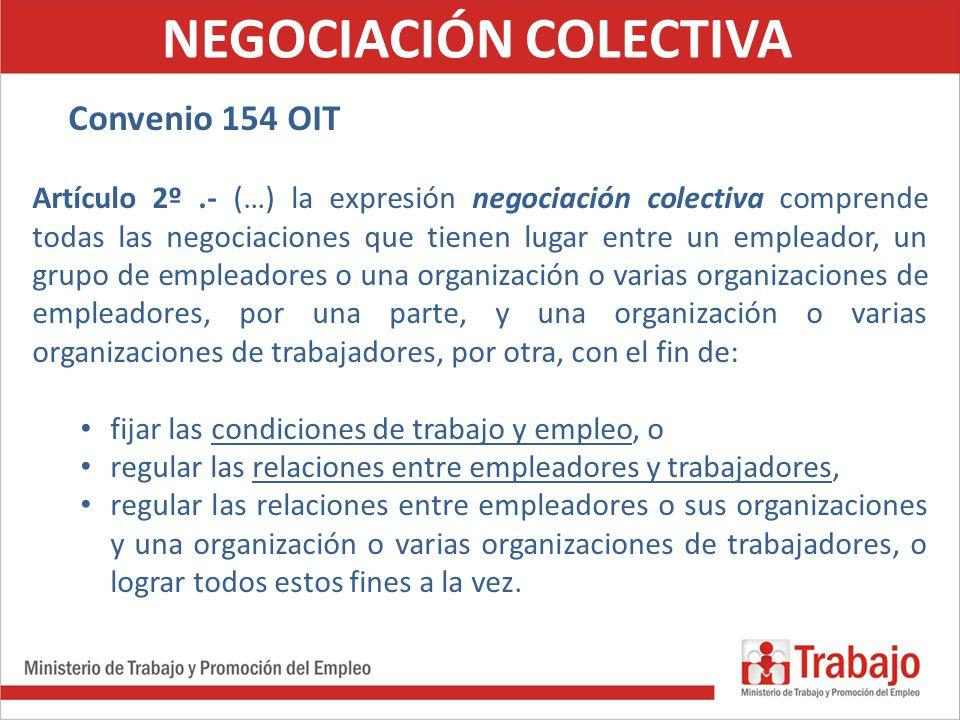 NEGOCIACIÓN COLECTIVA Convenio 154 OIT Artículo 2º.- (…) l Artículo 2º.- (…) la expresión negociación colectiva comprende todas las negociaciones que