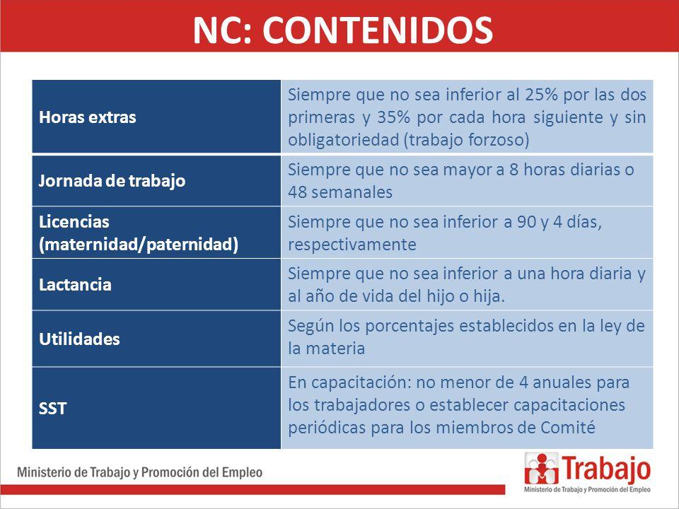 NC: CONTENIDOS Horas extras Siempre que no sea inferior al 25% por las dos primeras y 35% por cada hora siguiente y sin obligatoriedad (trabajo forzos