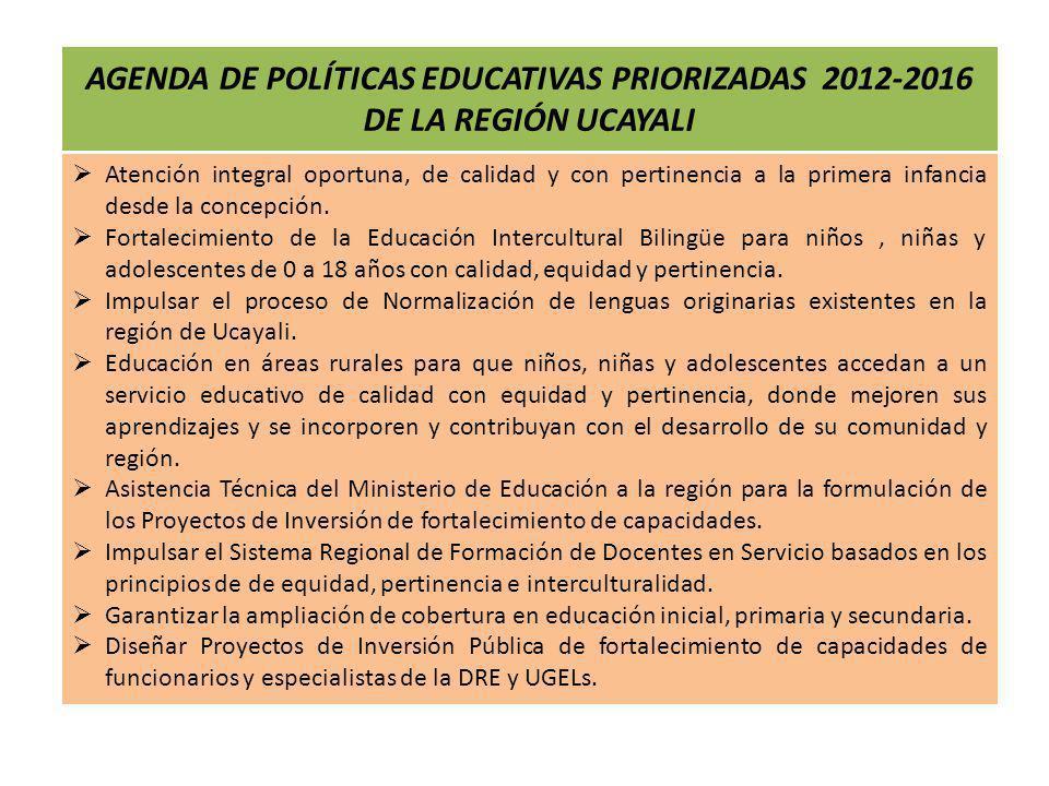 AGENDA DE POLÍTICAS EDUCATIVAS PRIORIZADAS 2012-2016 DE LA REGIÓN UCAYALI Atención integral oportuna, de calidad y con pertinencia a la primera infanc