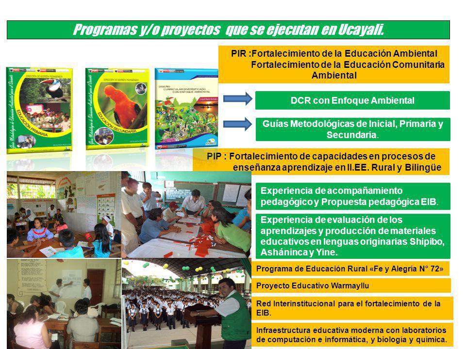 Programa de Educación Rural «Fe y Alegría N° 72» Programas y/o proyectos que se ejecutan en Ucayali. DCR con Enfoque Ambiental Guías Metodológicas de
