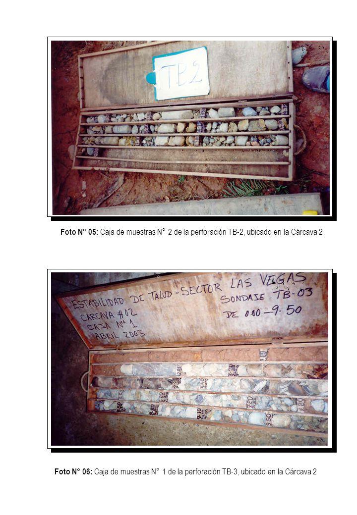 Foto N° 05: Caja de muestras N° 2 de la perforación TB-2, ubicado en la Cárcava 2 Foto N° 06: Caja de muestras N° 1 de la perforación TB-3, ubicado en