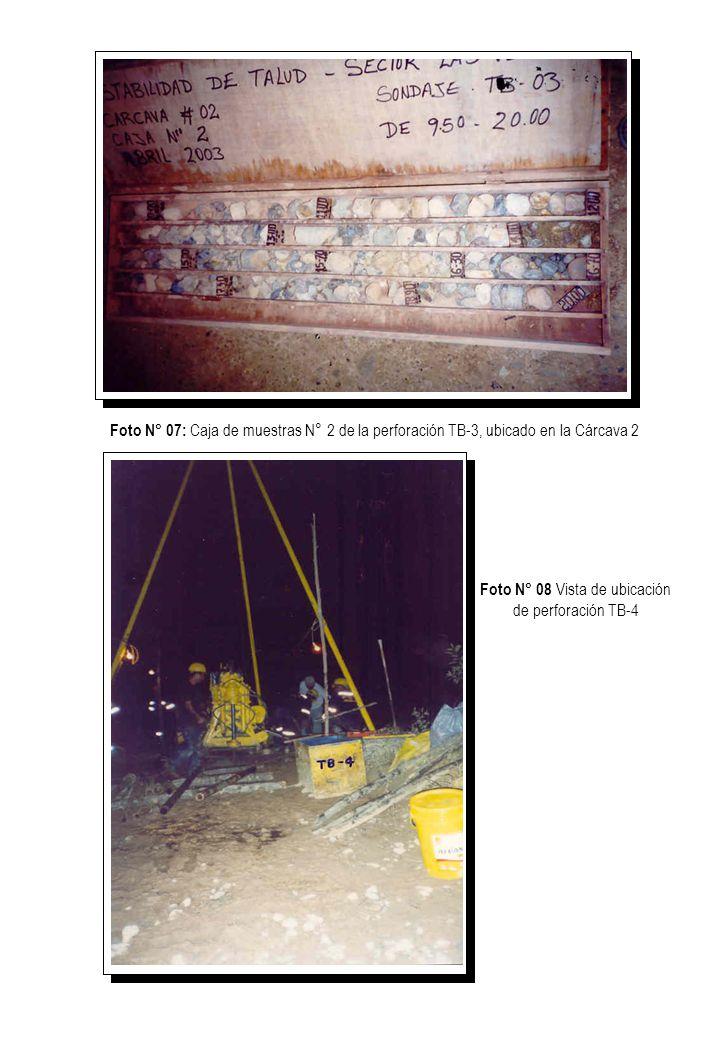 Foto N° 9: Caja de muestras N° 1 de la perforación TB-4, ubicada en la Cárcava 3 Foto N° 08 Vista de ubicación de perforación TB-4