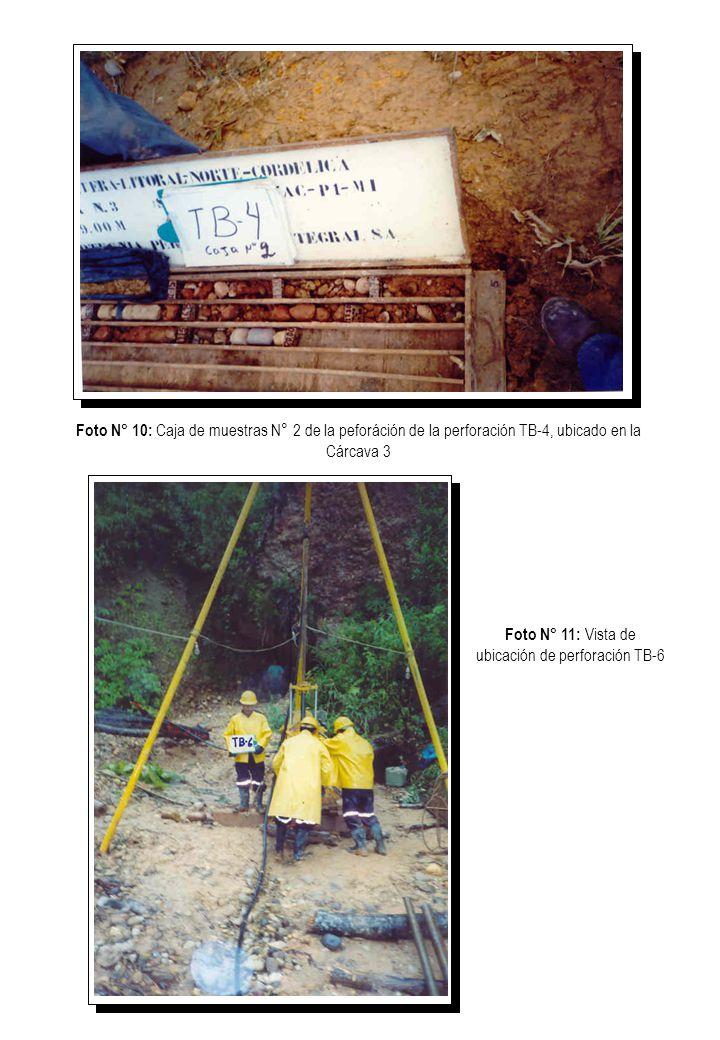 Foto N° 10: Caja de muestras N° 2 de la peforáción de la perforación TB-4, ubicado en la Cárcava 3 Foto N° 11: Vista de ubicación de perforación TB-6