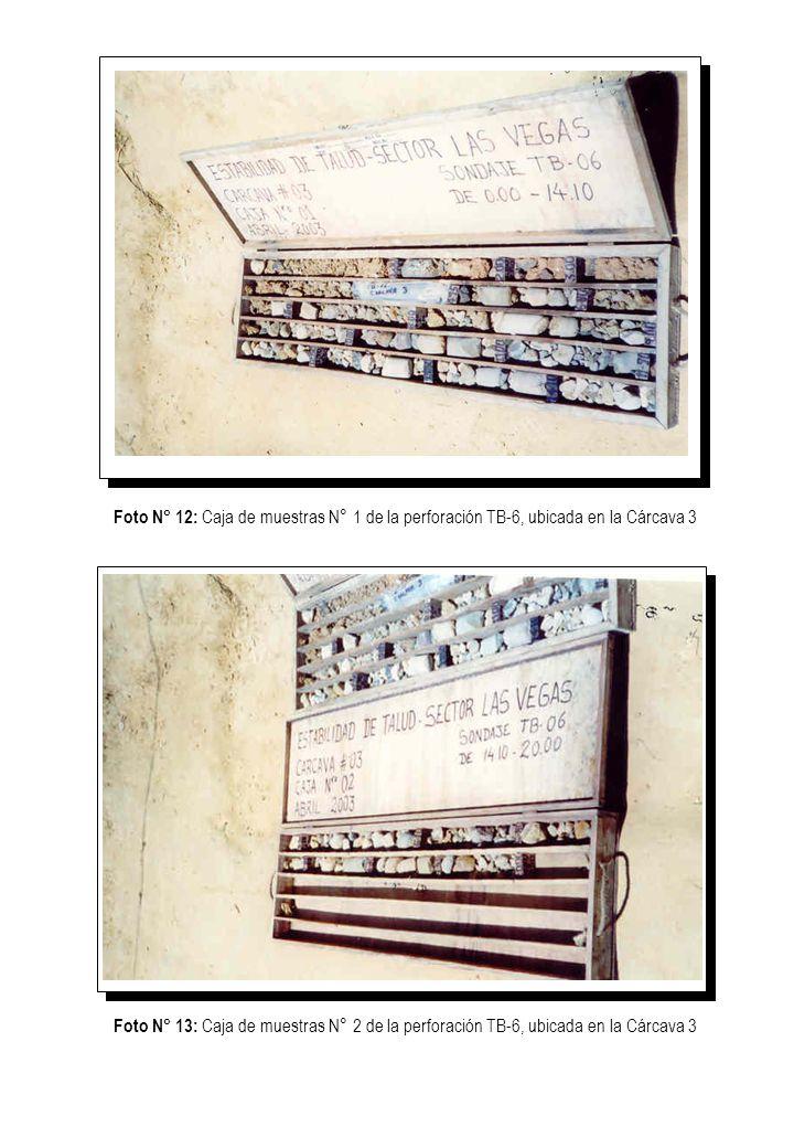 Foto N° 12: Caja de muestras N° 1 de la perforación TB-6, ubicada en la Cárcava 3 Foto N° 13: Caja de muestras N° 2 de la perforación TB-6, ubicada en