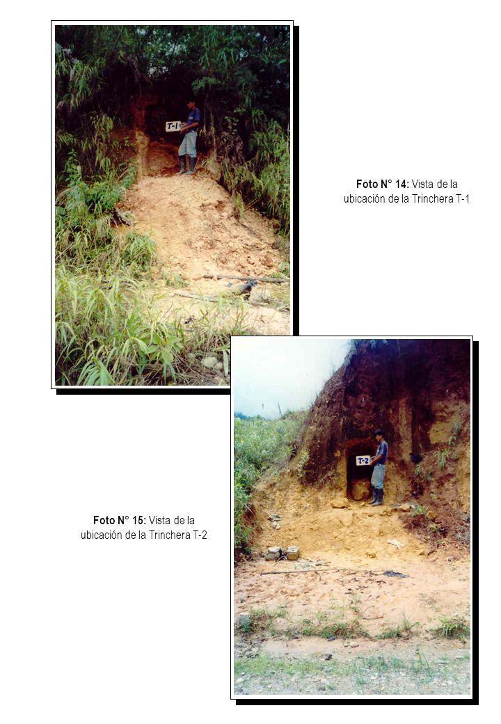 Foto N° 16: Vista de la ubicación de la Trinchera T-3 Foto N° 17: Vista de extracción de muestras inalteradas de la trinchera T-5